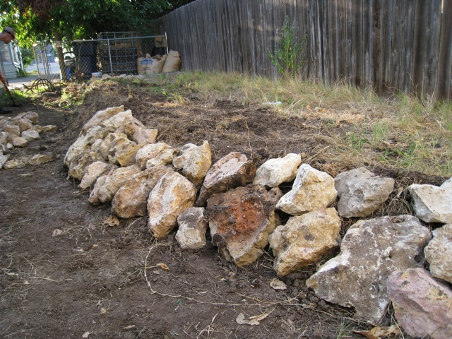 Rock wall taking form